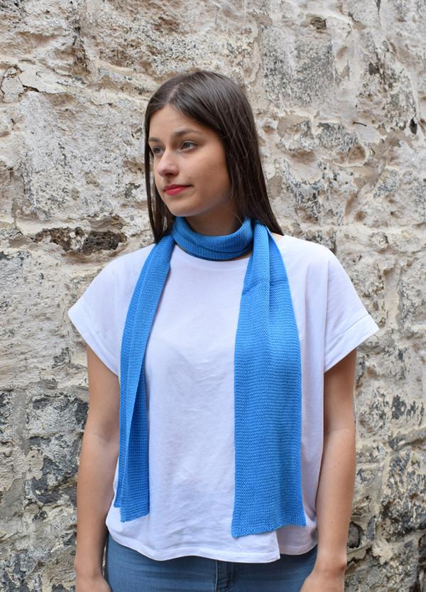 blue, worn as neck scarf