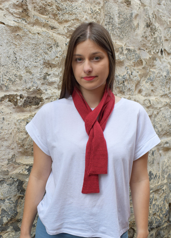 red, worn as neck scarf