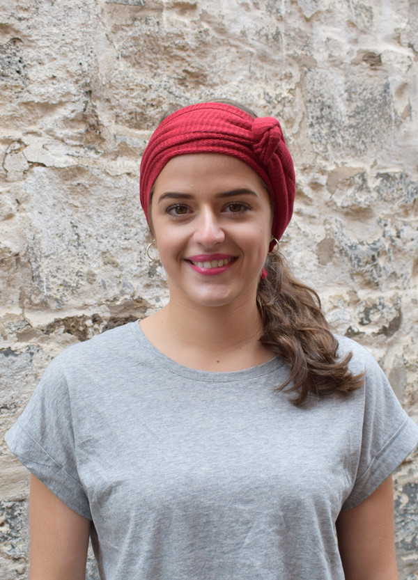 red, worn as headscarf