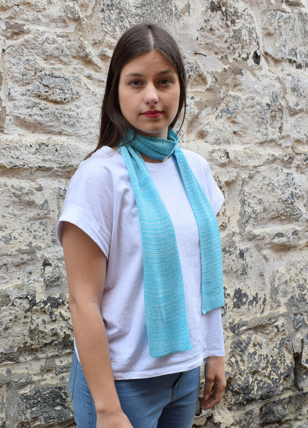 aquamarine, worn as neck scarf