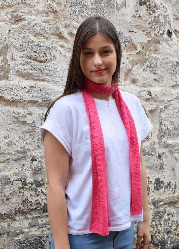 pink, worn as neck scarf