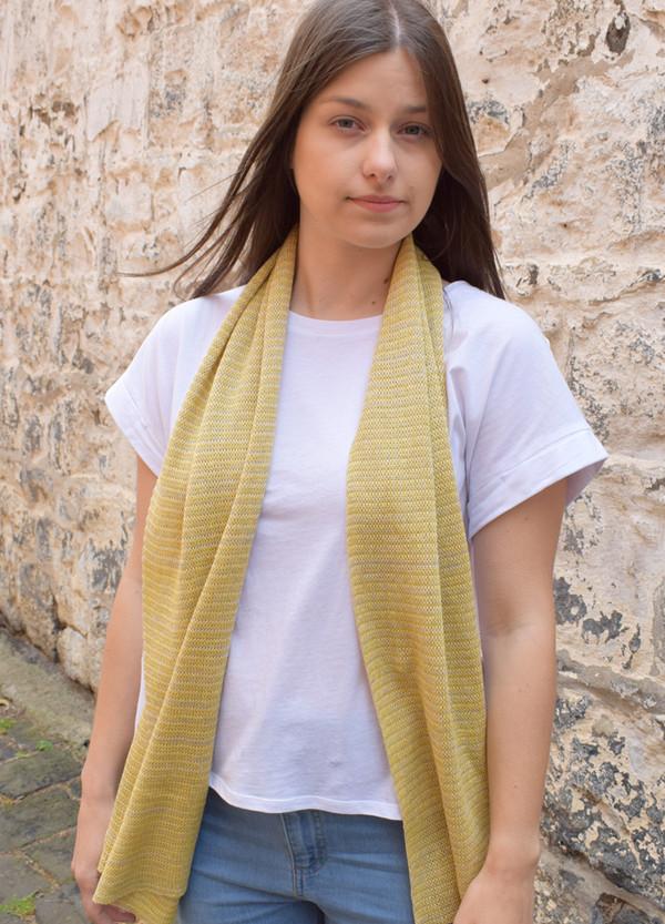 mustard stripe cotton scarf