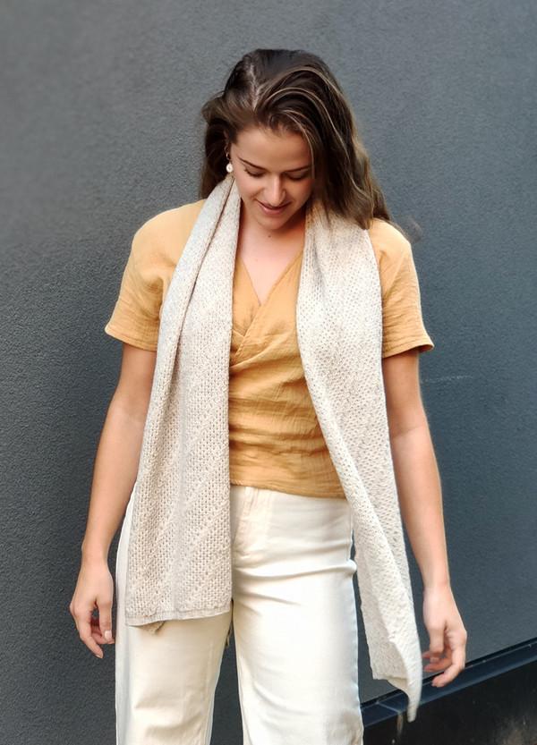 Merino wrap/scarf - linen