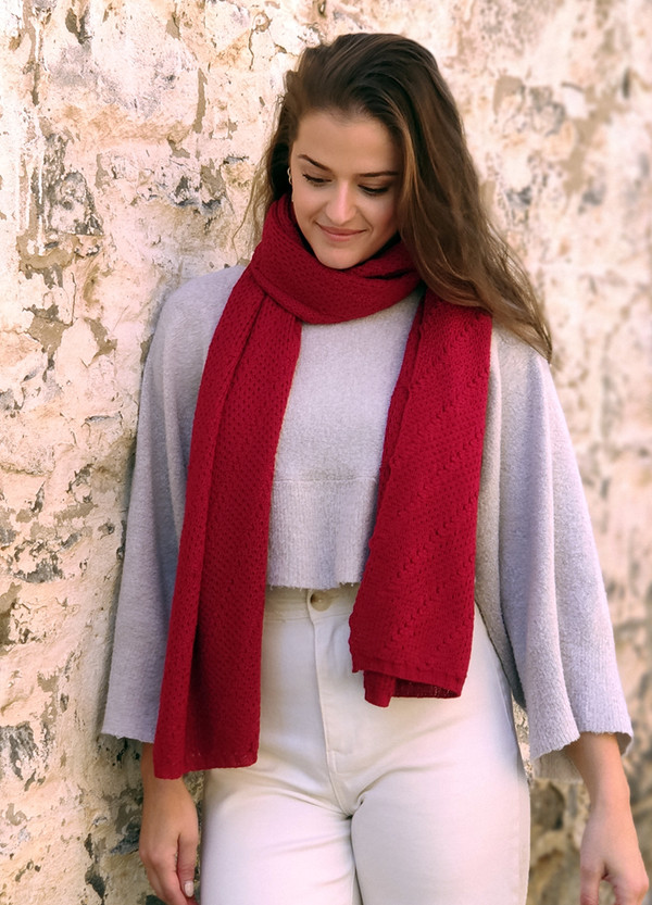 Merino wrap/scarf - red