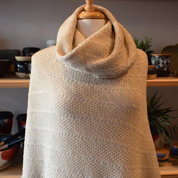 merino wool cowl worn layered over matching poncho - linen