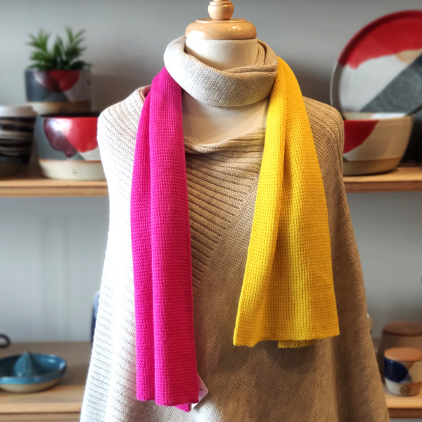 Hot Pink & Yellow Block Colour Scarf