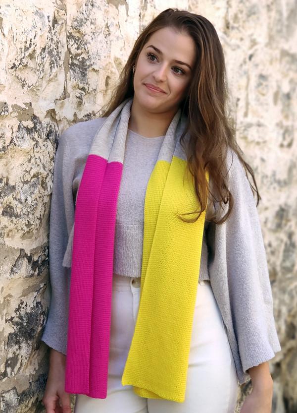 Scarf - Merino Wool - Block Colour Pink & Yellow