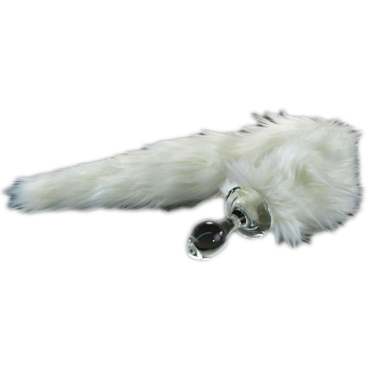 cbbc291e872 Crystal Delights Minx Glass Butt Plug Faux Fur Tail White Fox ...