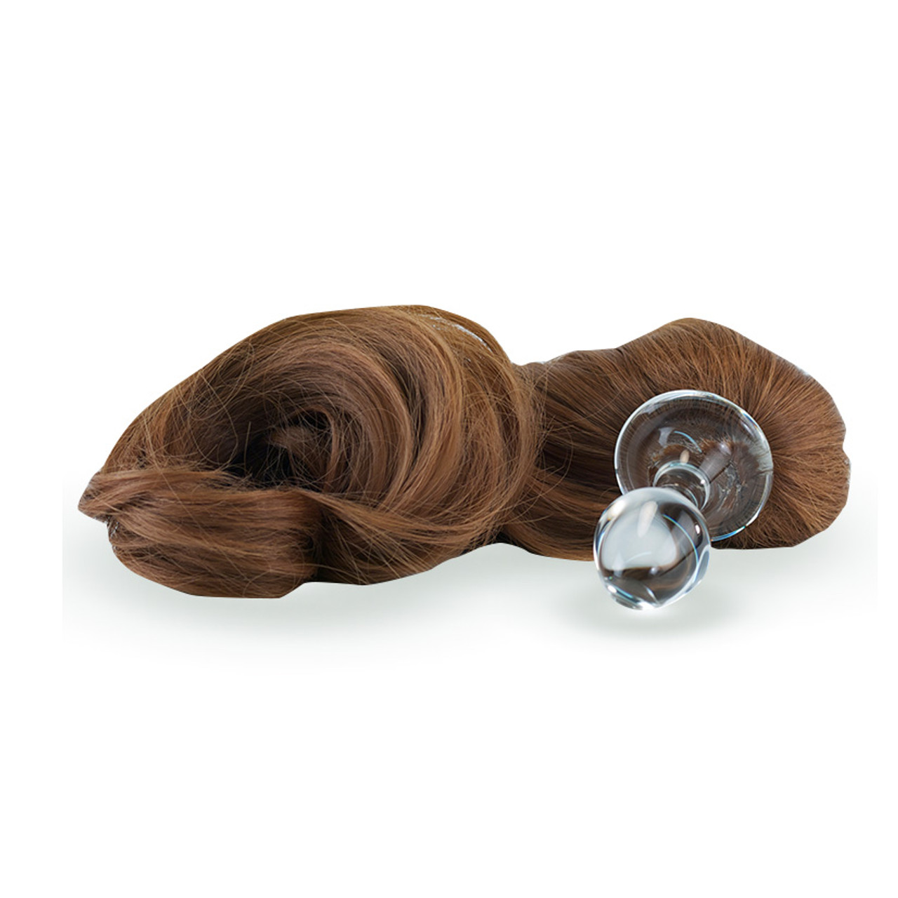 Crystal Delights Crystal Minx Brown Faux Pony Tail Clear