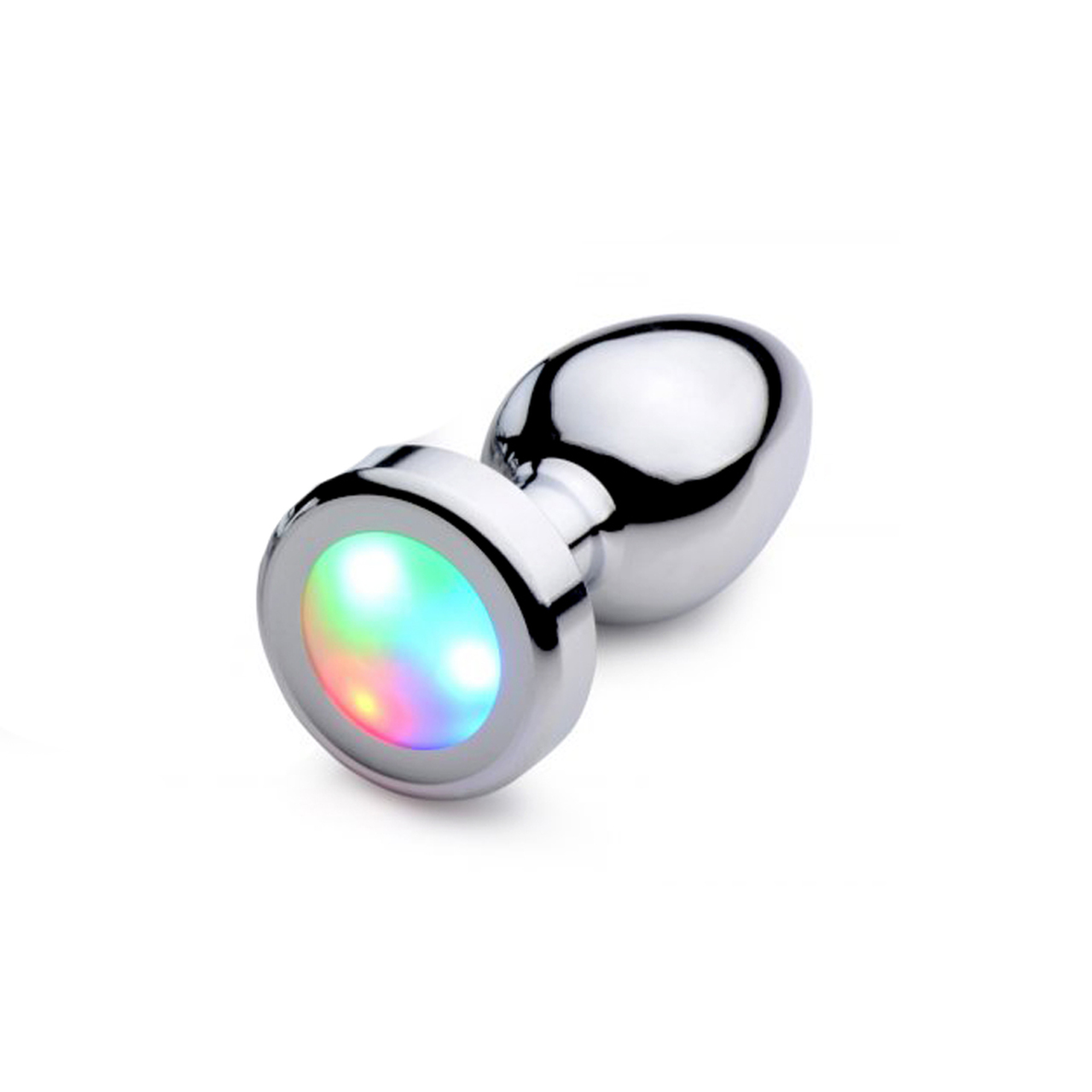 Analplug xr brands booty sparks light up rainbow led polished aluminum anal plug  small