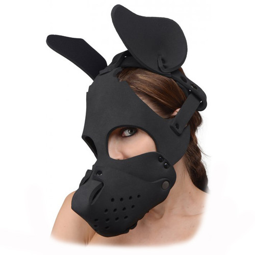 Master Series Neoprene Dog Hood with Removable Muzzle Black