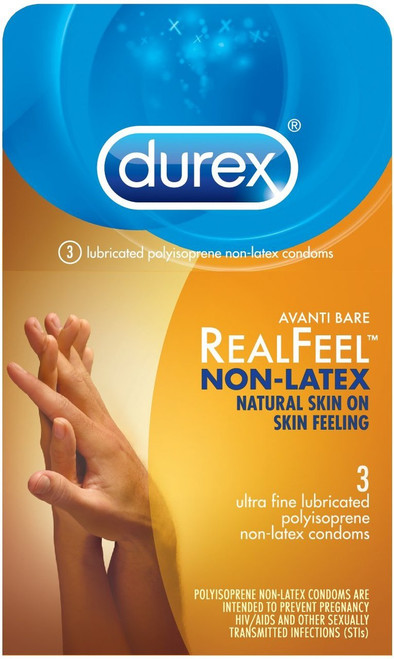 Durex Avanti Bare RealFeel Lubricated Polyisoprene Non-Latex Condoms 3 pack