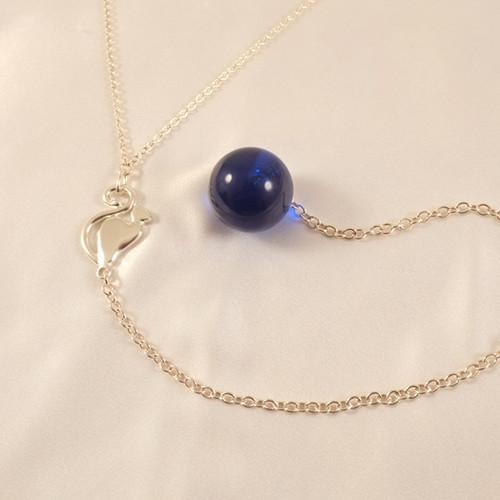 Sylvie Monthule Women's Silver Waist Chain with Full Moon Cat and Insertable Blue Orb