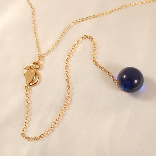Sylvie Monthule Women's Gold Waist Chain with Full Moon Cat and Insertable Blue Orb