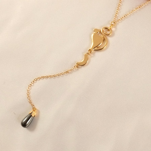 Sylvie Monthule Women's Gold Cat and Moon Waist Chain with Hematite Pendant