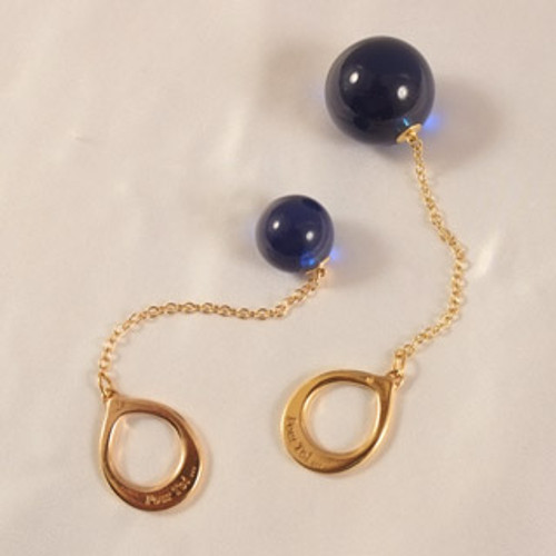 Buy the Unisex Gold Ring & Chain with 24mm Insertable Blue Orb - Sylvie Monthule