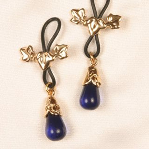 Sylvie Monthule Women's Gold Leaves of Romance Non-piercing Nipple Rings with Blue Pendant