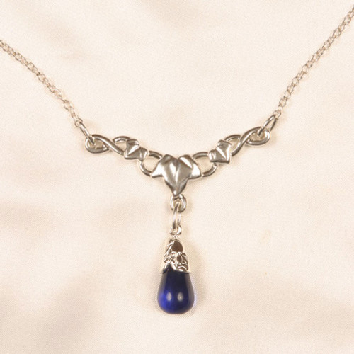 Sylvie Monthule Women's Silver Leaves of Romance Waist Chain with Blue Pendant