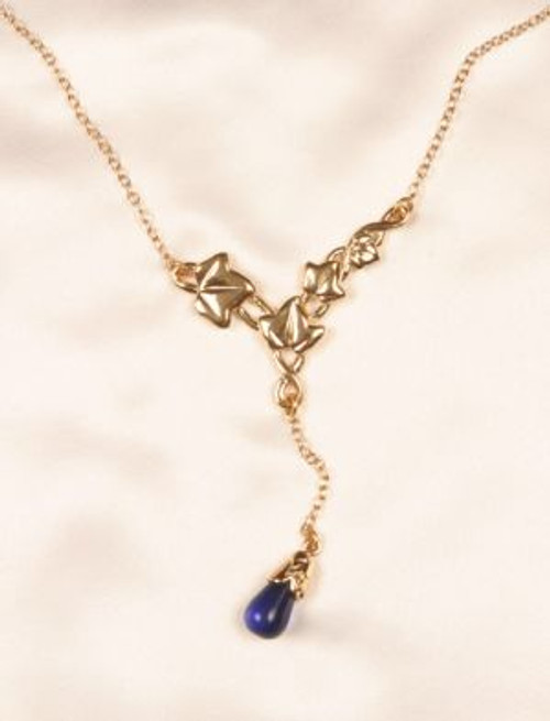 Sylvie Monthule Women's Gold Leaves of Romance Cheek Chain with Blue Pendant