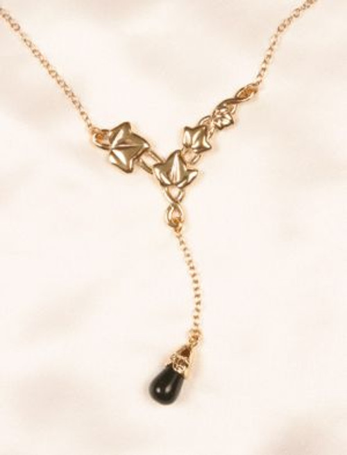 Sylvie Monthule Women's Gold Leaves of Romance Cheek Chain with Black Pendant