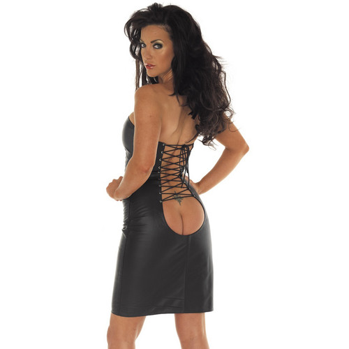 Rimba Leather Black Leather Strapless Dress with Lace Up Open Back