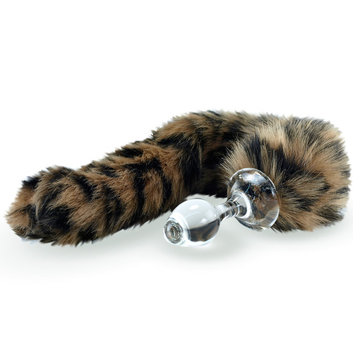 Crystal Delights Minx Glass Butt Plug Faux Fur Tail Leopard