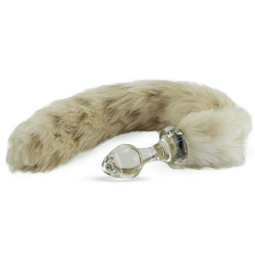 Crystal Delights Minx Glass Butt Plug Faux Fur Tail Snow Leopard