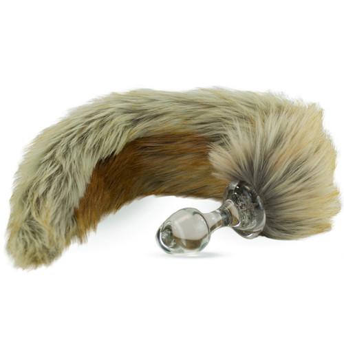 Crystal Delights Minx Glass Butt Plug Faux Fur Tail Red Fox