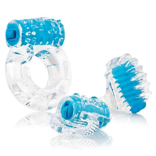 Buy the VibrOman Vibrating Better Sex Kit cockring, tongue vibe, finger vibrator in blue - Screaming O