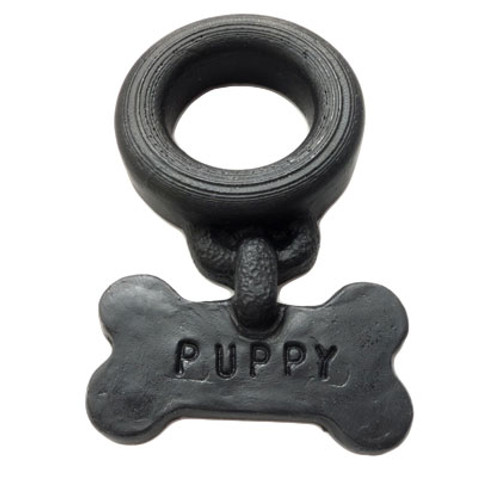 """OXBALLS Puppy Tag Silicone Cock Ring Black is available at Dallas Novelty OXB6452 Good pups get Scooby Snax! Wear it discretely under your balls...or face it backwards, shove a pup-tail in your hole and get on all fours like a good pup should...nuthin' a pup-owner likes more that to look down and see his dog wagging his tail. Wag your fuckin tail, Fido!"""" He will be showing off that hole with a PUPPY tag just under his tail...WOOF!"""