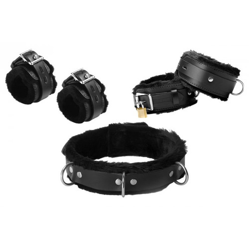 Strict Leather Black Premium Fur Lined Leather Bondage Essentials Kit