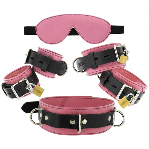 Strict Leather Pink Premium Leather Bondage Essentials Kit with Padded Blindfold