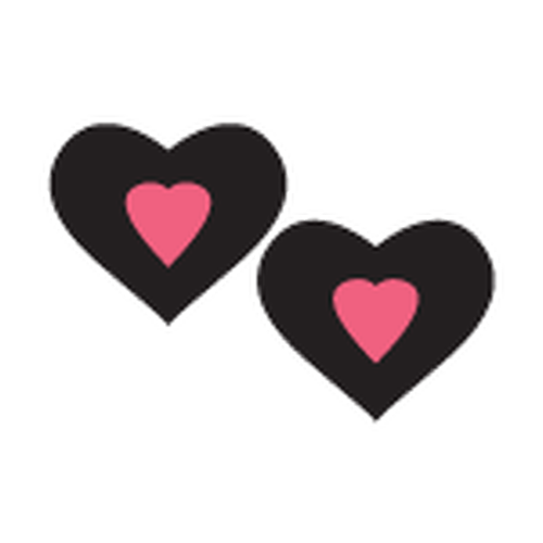 Pastease Black & Hot Pink Heart Shaped Pasties