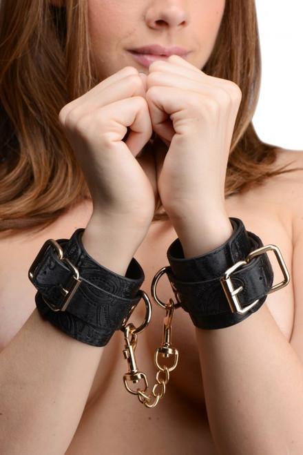 GreyGasms Captured Embroidered Wrist Cuffs Black