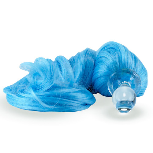 Crystal Delights Crystal Minx Sky Blue Detachable Faux Pony Tail Clear Plug Short Stem Small Bulb