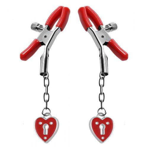Master Series Crimson Tied Captive Heart Padlock Nipple Clamps