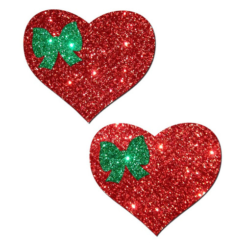 Pastease Holiday Sweety Red Glitter Heart & Green Glitter Bow Pasties