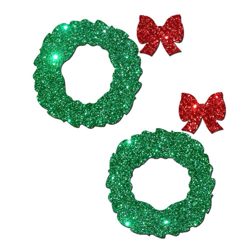 Pastease Green Glitter Peek-a-Boo Wreath Pasties with Red Glitter Bow Pasties
