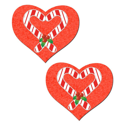 Pastease Holiday Sweety Red Hearts with Candy Cane Pasties