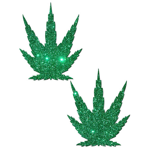 Pastease Glittering Green Pot Leaf Pasties