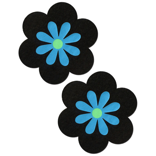 Pastease Black & Turquoise Daisy Concealing Flower Pasties