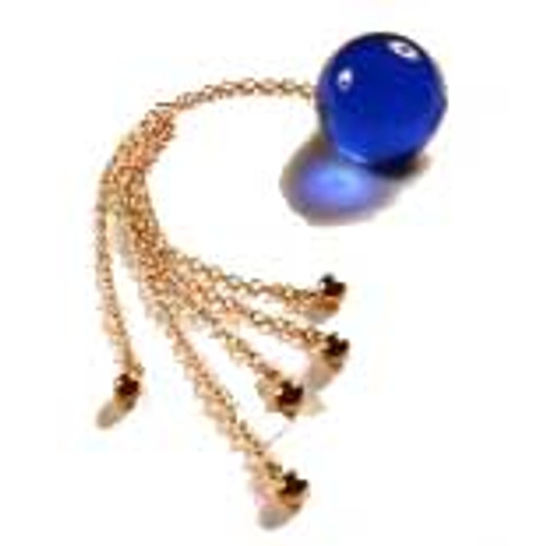 Buy the Unisex Insertable 34mm Blue Crystal Orb with 5 Gold Pendants - Sylvie Monthule