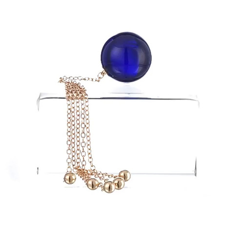 Buy the Jewels in Harmony Unisex Insertable 34mm Blue Crystal Orb with 5 Gold Pendants - Sylvie Monthule Erotic Jewelry made in France