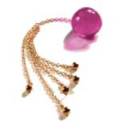 Buy the Unisex Insertable 34mm Mauve Crystal Orb with 5 Gold Pendants - Sylvie Monthule