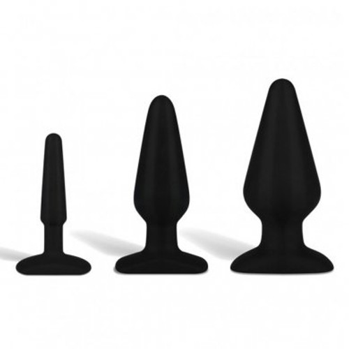Hustler Toys All About Anal Seamless Silicone Anal Training Kit Black