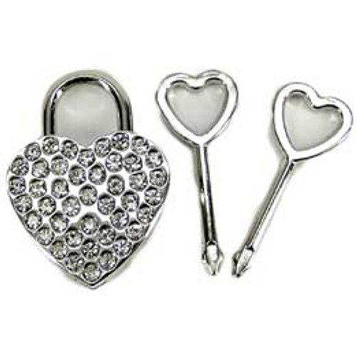 Rhinestone Heart Shaped Lock Nickel