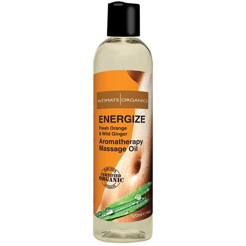 Intimate Organics Aromatherapy Massage Oil Energize Fresh Orange & Wild Ginger 4 oz