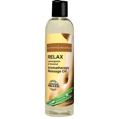 Intimate Organics Aromatherapy Massage Oil Relax Lemongrass & Coconut 4 oz