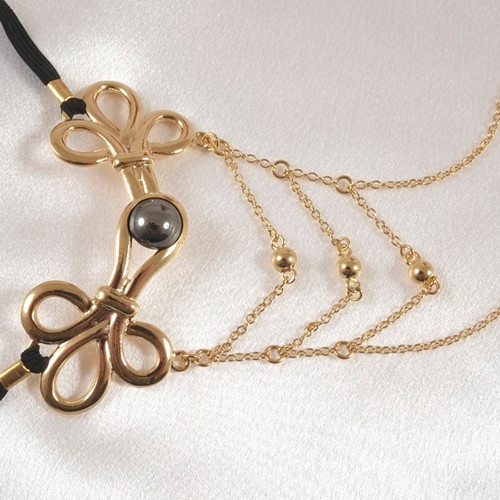Buy The Women's 16k & 24k Gold Brandebourg Caress Knot G-String with Hematite Stone & Beaded Labia Chains - Sylvie Monthule Erotic Jewelry made in France