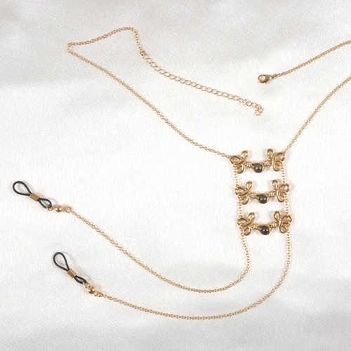 Sylvie Monthule Women's Gold Brandebourgs Knot Neck Chain with Non-Piercing Nipple Rings